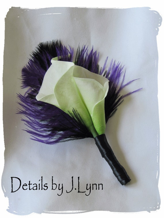 Double Ivory Calla Lily and Black / Purple Feather Boutonniere