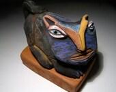 """Cat Folk Art Sculpture, Magic Black Cat Person, Meeooaaurrrrrrrrrrrr, clay sculpture, 5"""""""