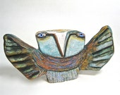 """Whimsical Owl Sculpture, Art...Owl Person and Sunset, Best Friends. clay, 10"""" wide"""