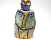Owl Art, Owl Sculpture, Owl Person and Beauty Baby Dreaming Love