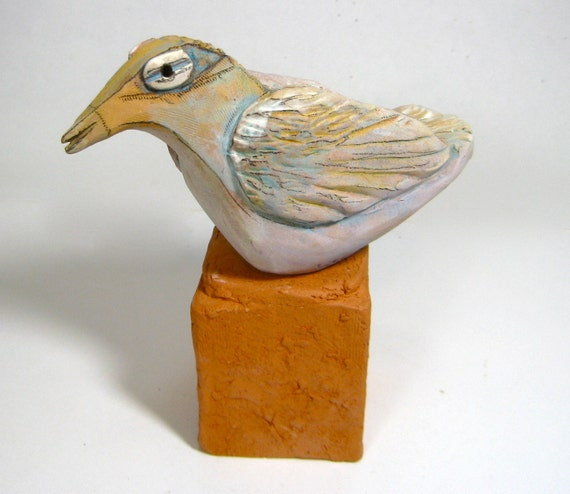Bird Sculpture, Clay, Beauty Bird Dreaming Beauty