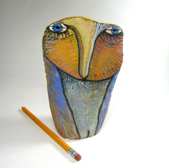 Owl, clay sculpture, Big Owl Person in the Rainbow