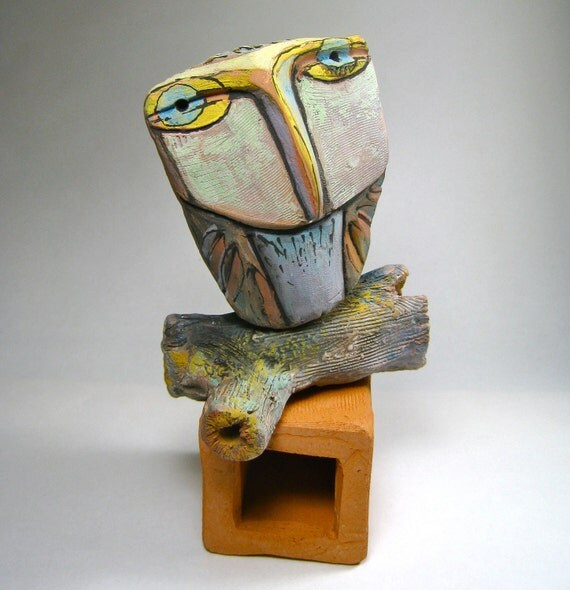 Owl art, sculpture, Owl Person in the Forest