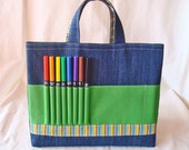 Coloring Travel Tote Crayon Bag Crayon Tote ARTOTE READY to SHIP in Leapin' Lizards