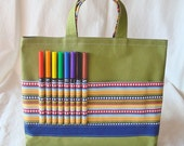 Coloring Tote Canvas Tote Crayon Bag Clearance  Ready to Ship ARTOTE in The Dotted Line