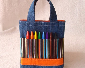 Crayon Bag Ring Bearer Gift Crayon Tote READY to SHIP Sale ARTOTE in Mini Woodsy Stripe