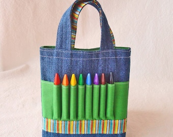 Crayon Tote Art Activity Ring Bearer Gift READY To SHIP ARTOTE Mini in Leapin' Lizards