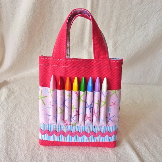 ARTOTE MINI Coloring Purse Crayon Bag Crayon Tote Art Activity in Little Pink Starfish READY to Ship-- Last One