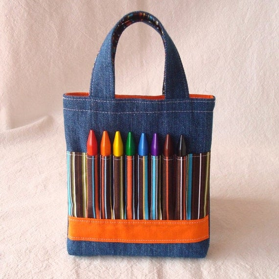 Crayon Bag Crayon Tote READY to SHIP Sale ARTOTE in Mini Woodsy Stripe