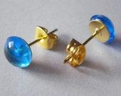 Stud Earrings Tiny Bubbles Blueberry Blue Dew Drop Fruity Juicy