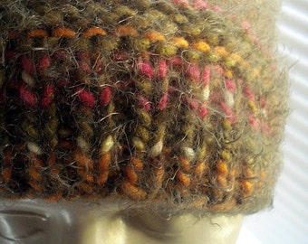 Knitted Hat Unisex Beanie Ladies Skull Cap Multi Color Brown Boys Beanie Very Soft Wool Blend Beanie Skull Cap Hand Knit Handmade in Oregon