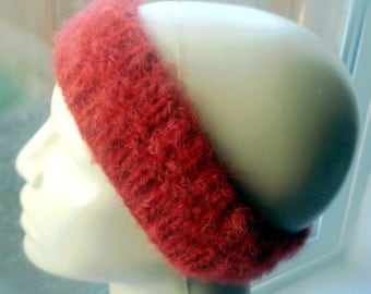 Handknit Headband Ear Warmer Hand Knit Wool Blend Rock Star Red Knit By Hand Handmade in Oregon USA