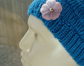 Girls Hand Knit Beanie Acrylic Pink Flower Embellished Hat Knitted Beanie Ladies Cap Womens Blue Hat Ripple Wave Hand knit Beanie OOAK
