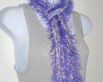 Ladies Skinny Scarf Womens Knit Scarf Knitted Scarflette Gala Purple Fuzz Tahki Rainbow Ribbon Core Pastel Colors Very Soft Made in the USA