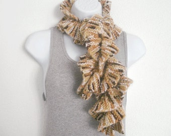 Ruffle Scarf Hand Knit Spiral Scarf Womens Scarf Brown Scarf Coffee Mocha Shades Scarflet Handmade in Oregon 42in Very Soft Brushed Acrylic