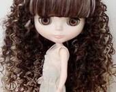 Blythe Hair Wig - Highlighted brown curly hair wig