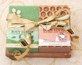 Two Soaps of Your Choice and a Walnut Soap Rack