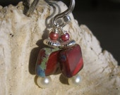 Holiday Window Glass in Red with Pearl and Sterling