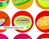 Digital collage sheet vegetarian sweets 1.5 inch circles