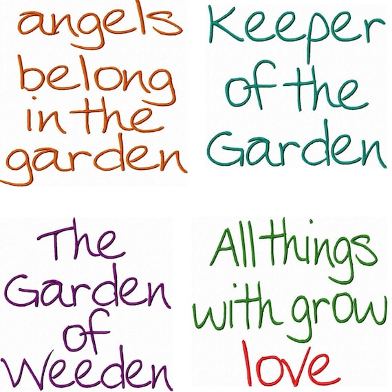 Garden quotes embroidery machine designs digital download for Landscape design quotes