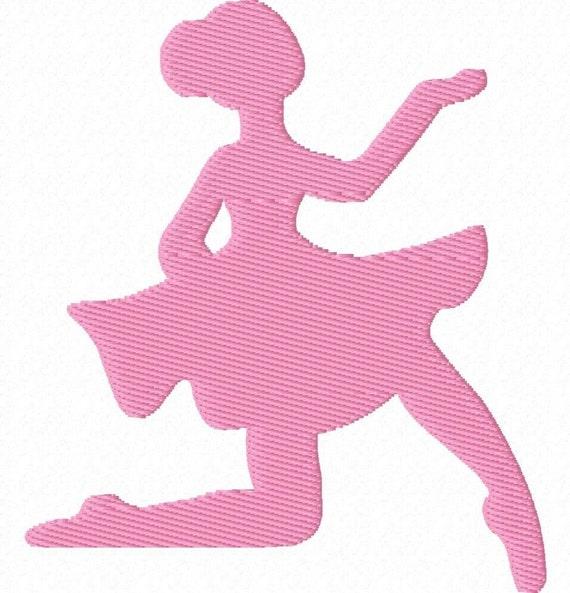 6 Ballerina Shadow Embroidery Machine Design Patterns Digital Download in 2 Sizes
