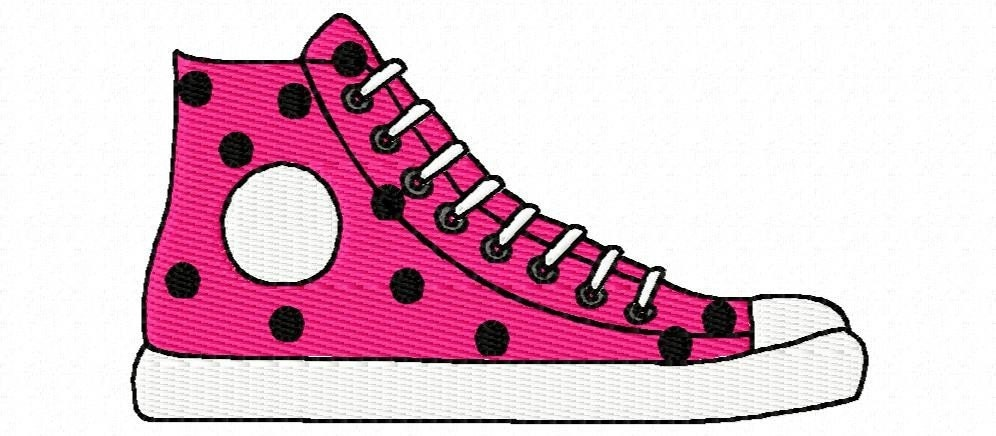 Pink Tennis Shoes Clipart Hightop shoes embroidery machine design by ...