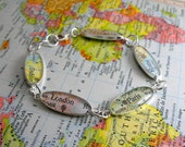 READY to SHIP TODAY :  Around The World Vintage Map Sterling Silver and Resin Bracelet.  Made to Order.  Enjoy Free Worldwide Shipping.