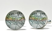 Antique Map Cufflinks Journey to Bali Indonesia