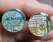 Chicago Baseball Vintage Map Sterling Silver Round Cufflinks.