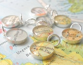 Handmade Sterling Silver Map Charm.  You Select the Journey. Coworker, Girlfriend, Stocking Stuffer
