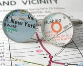 A DLK Designs Original - New York Teams Mets and Jets Stadium Football and Baseball Vintage Street Map Sterling Silver Round Cufflinks.