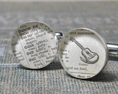 Vintage Dictionary Sterling Silver Round Cufflinks. Guitar