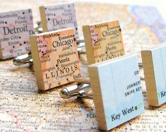 You Choose Map or Dictionary Scrabble Tile Cufflinks as featured on Parents.com, brother gift, husband gift, anniversary gifts for men