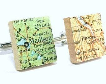 You Choose Vintage Map Scrabble Tile Cufflinks as featured on Parents.com