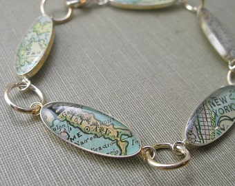 As Seen in Southern Lady 2012 Holiday Gift Guide - Antique 1800's World Map Charm Bracelet by DLK Designs