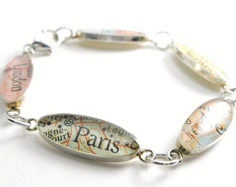 Charm Bracelet Map Sterling Silver, You Select Any 5 Places from Around the World, will you be my bridesmaid