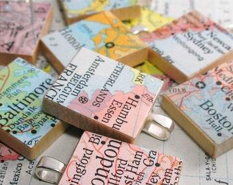 Map Scrabble Tile Pendant.  Vintage.  You Select the Journey.