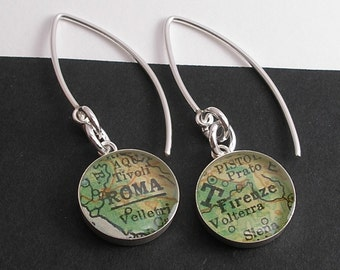 A Trip to Italy.  Modern Vintage Map Dangle Earrings.  Roma and Firenze.  Made to Order.