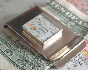 Made to Order Vintage Map Money Clip - Square