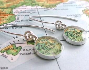 Firenze Italy Modern Vintage Map Dangle Earrings.