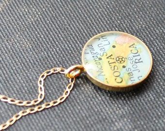 Gold Plated Vintage Map Necklace.  You Select Journey.