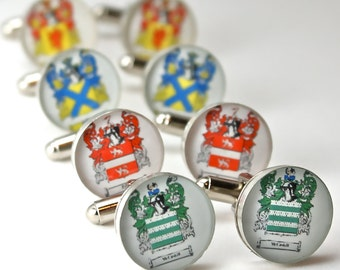 Groom Gift from Bride Custom Family Crest Cufflinks, blason famille, custom cufflinks etsy