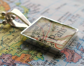 Vintage Map Sterling Silver Square Necklace.  You Select the Journey.