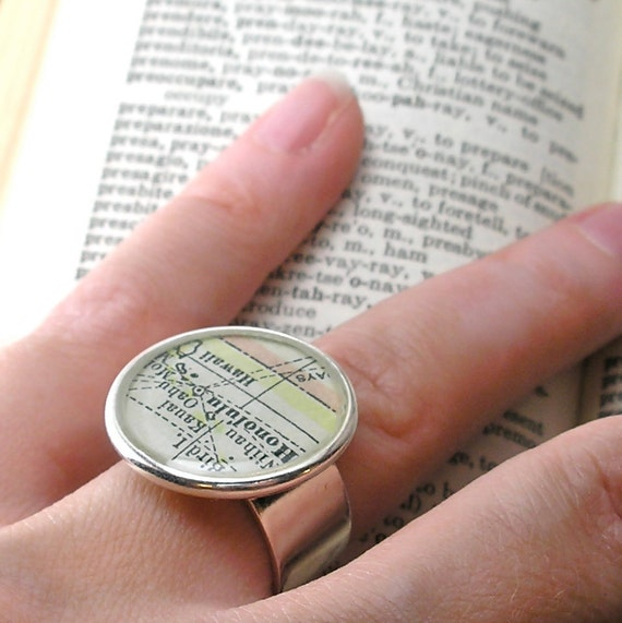 Only 2 Left!  Custom Vintage Map Cocktail Ring.  You Select the Journey.