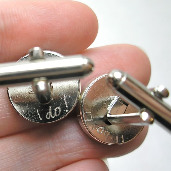 Engraved Cufflinks, I do, Sterling Silver Round Vintage Map Cufflinks. You Select the Journey.