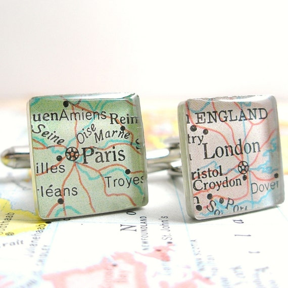 A Pair.  Paris France and London England Vintage Map Sterling Silver Square Cufflinks.