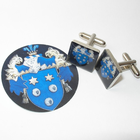 Family Crest Cufflinks Custom Made to Order, Square