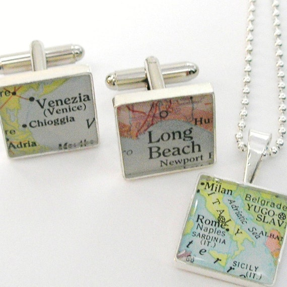 Wedding Gifts For Teenage Groomsmen : Bride and Groom Wedding Day SetVintage Map Sterling Silver Square ...
