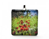 Large Square Glass Field Of Poppies Photo Pendant