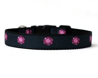 1 Inch Wide Dog Collar with Adjustable Buckle or Martingale in Gemstones an Exclusive Design